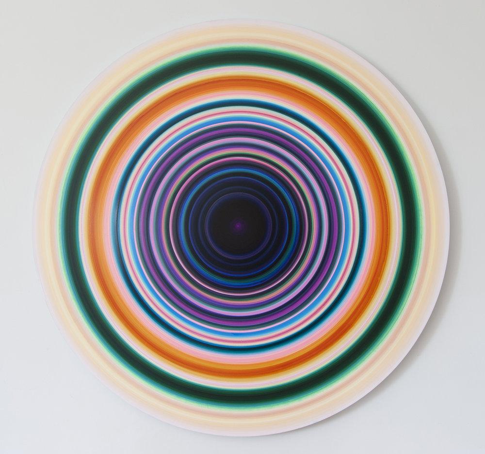 untitled (15-48-2), acrylic on aluminum, 48 in. diameter