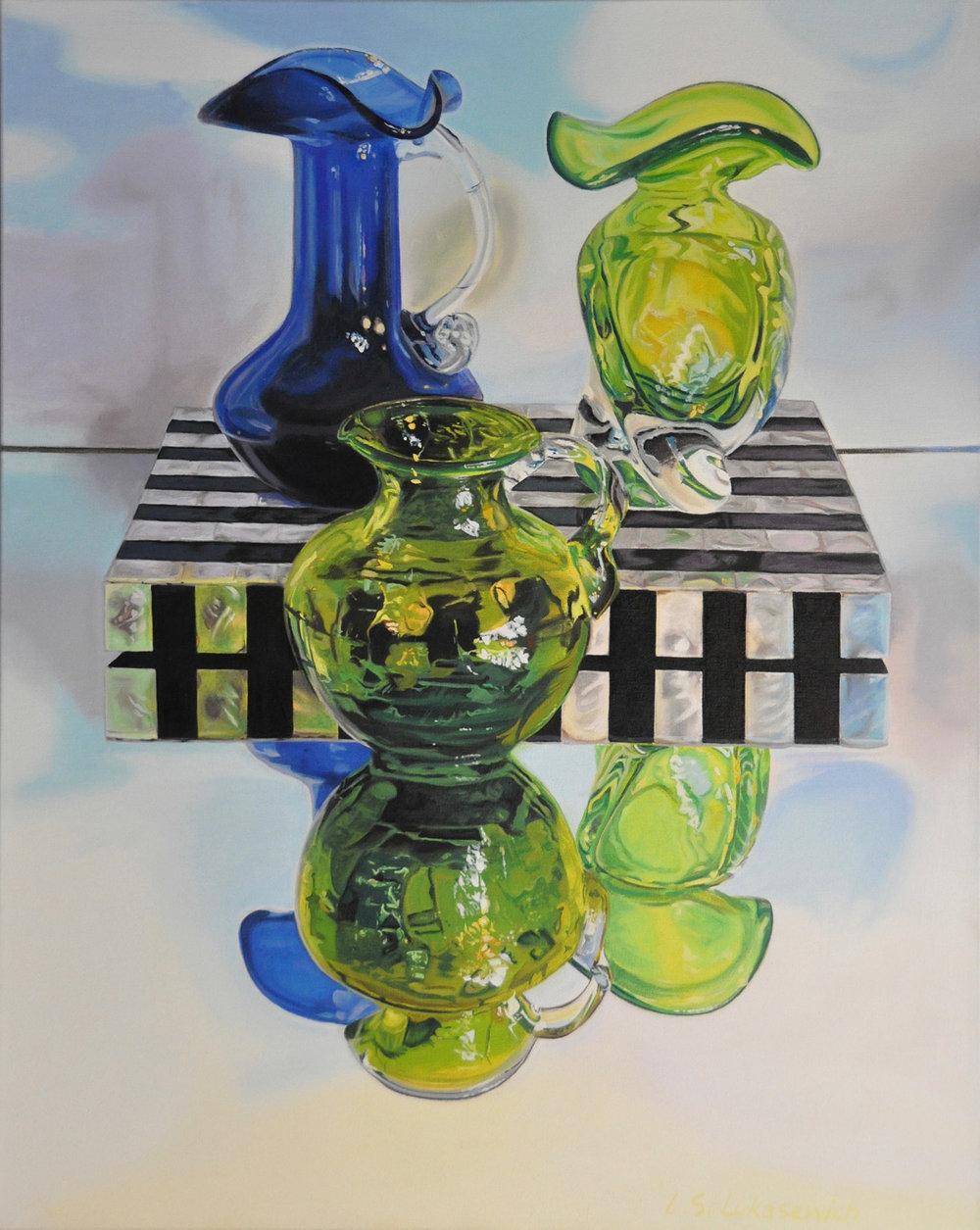 Zoya's Blue & Green Glass, oil & alkyd on canvas, 30 x 24 in.