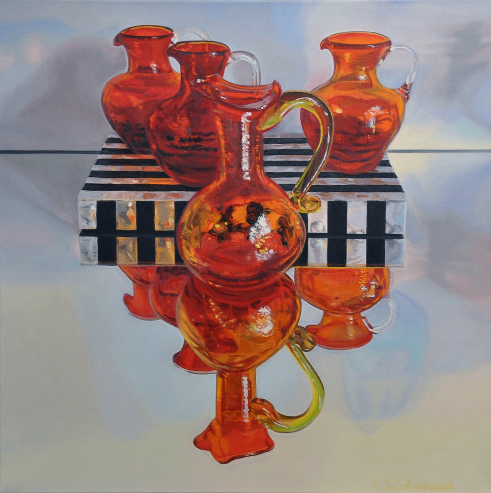 Zoya's Red & Orange Glass, oil & alkyd on canvas, 24 x 24 in.