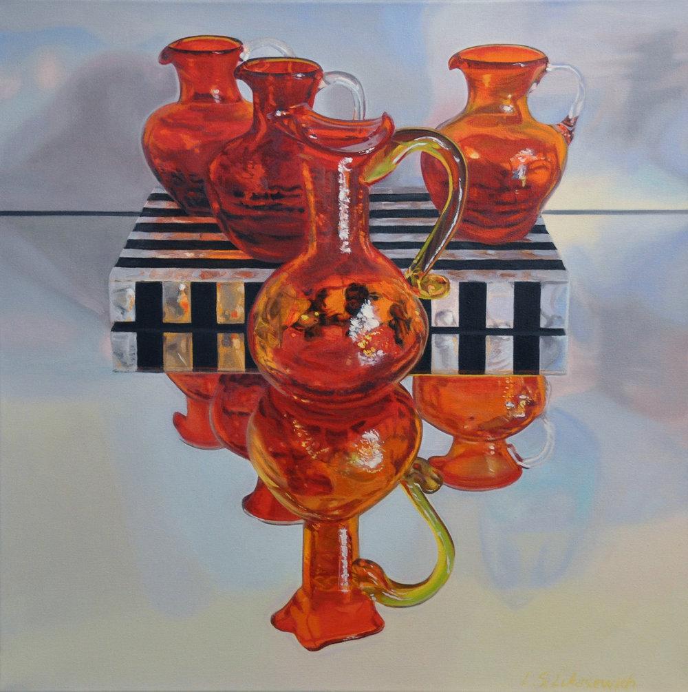 Zoya's Red & Orange Glass, oil & alkyd on canvas, 24 x 24 in.