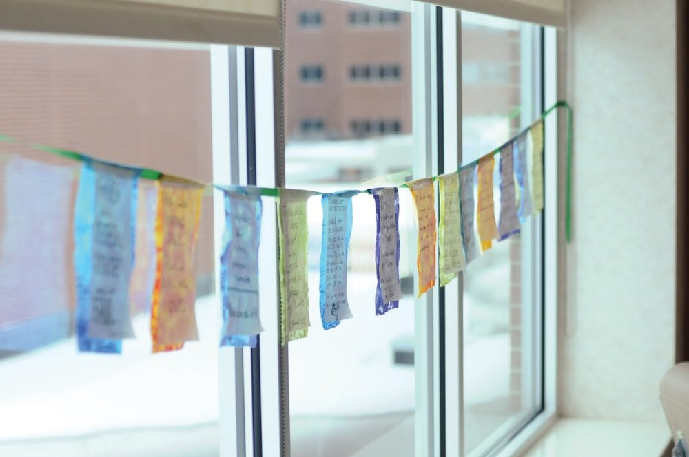 Our birth affirmation banner hanging in our hospital room for our first born's birth.