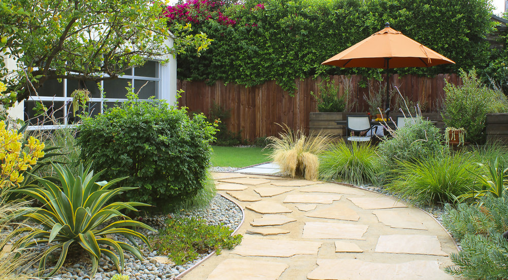 Drought-tolerant Plants in Gravel, a Flagstone & DG—decomposed granite Walkway and a Concrete Paver Patio