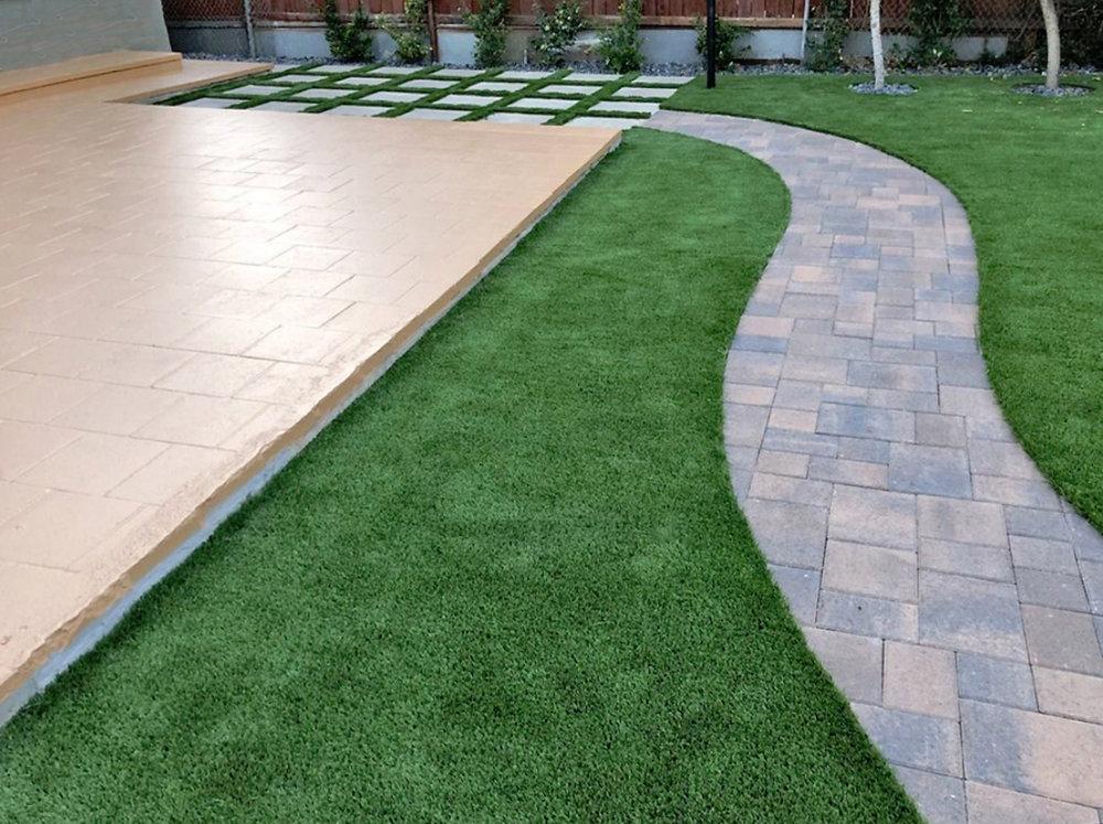 Paver Stone Walkway, Concrete Pavers & Painted Paver Patio