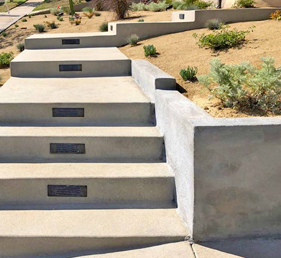 Concrete Steps with Lights and Concrete Retaining Wall