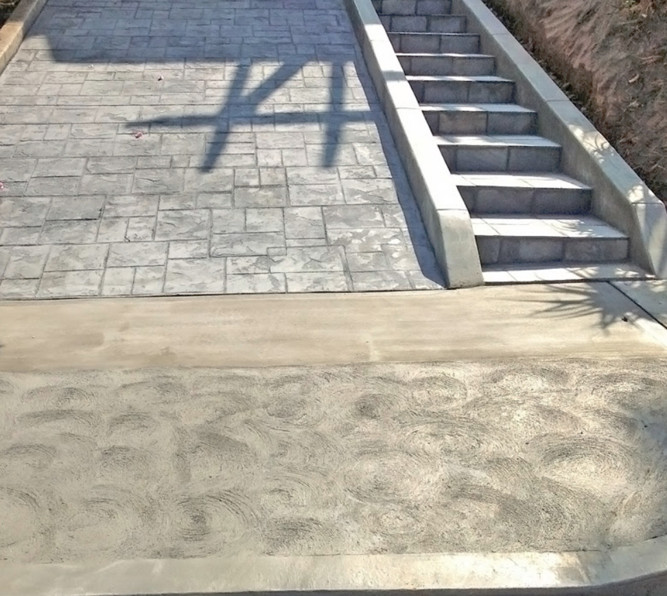 Stamped Concrete Driveway with Steps alongside