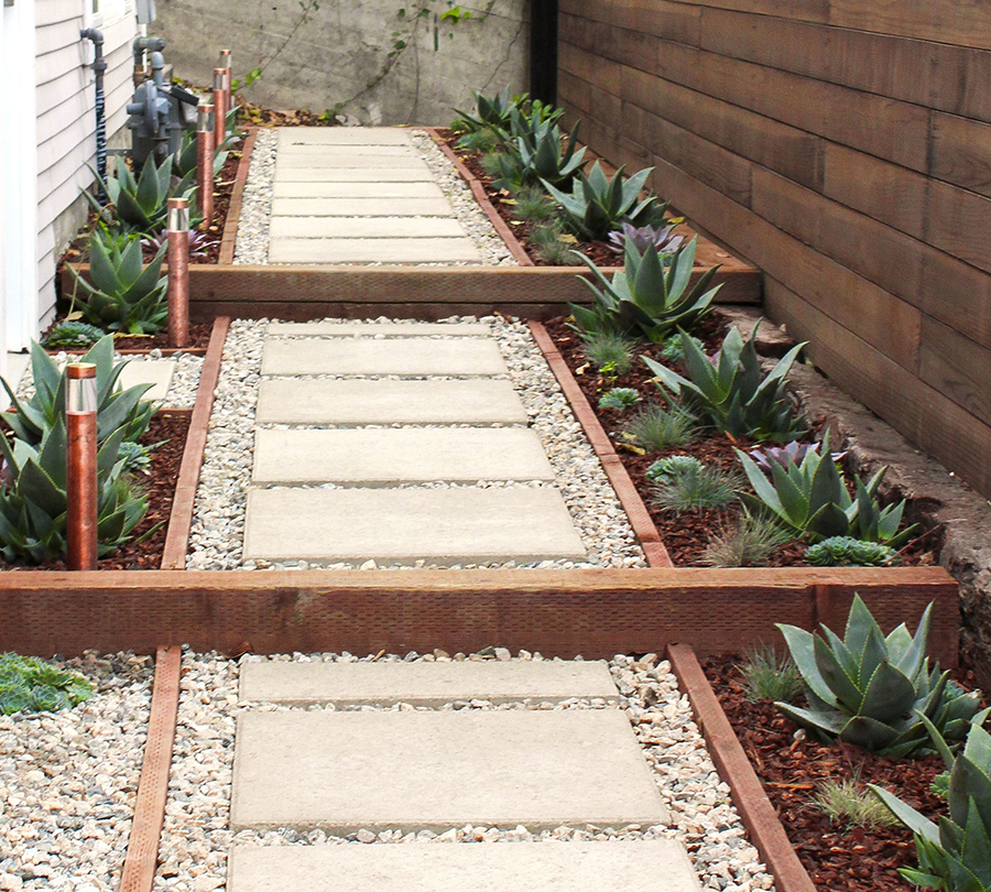 Concrete Paver Walkway with Gravel