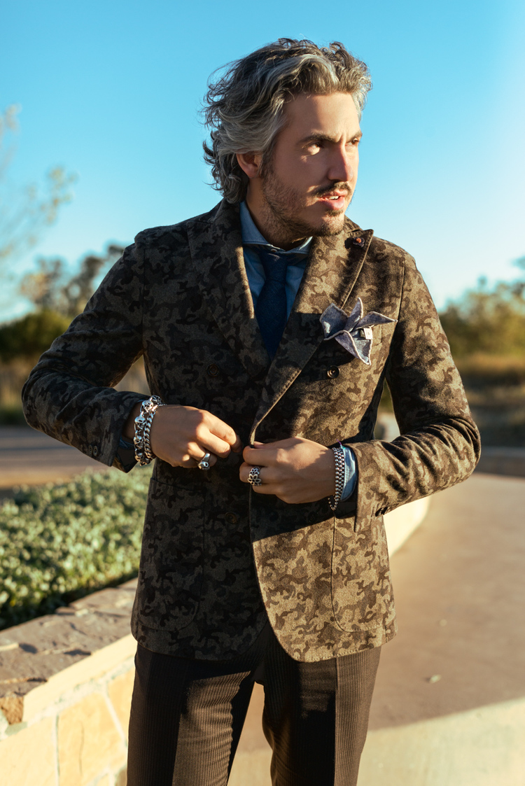 Camouflage wool double breasted jacket