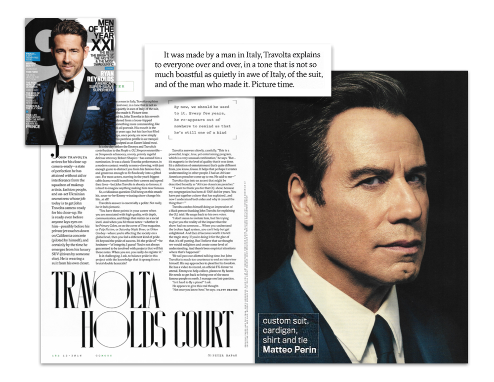 John Travolta wearing Matteo Perin in GQ