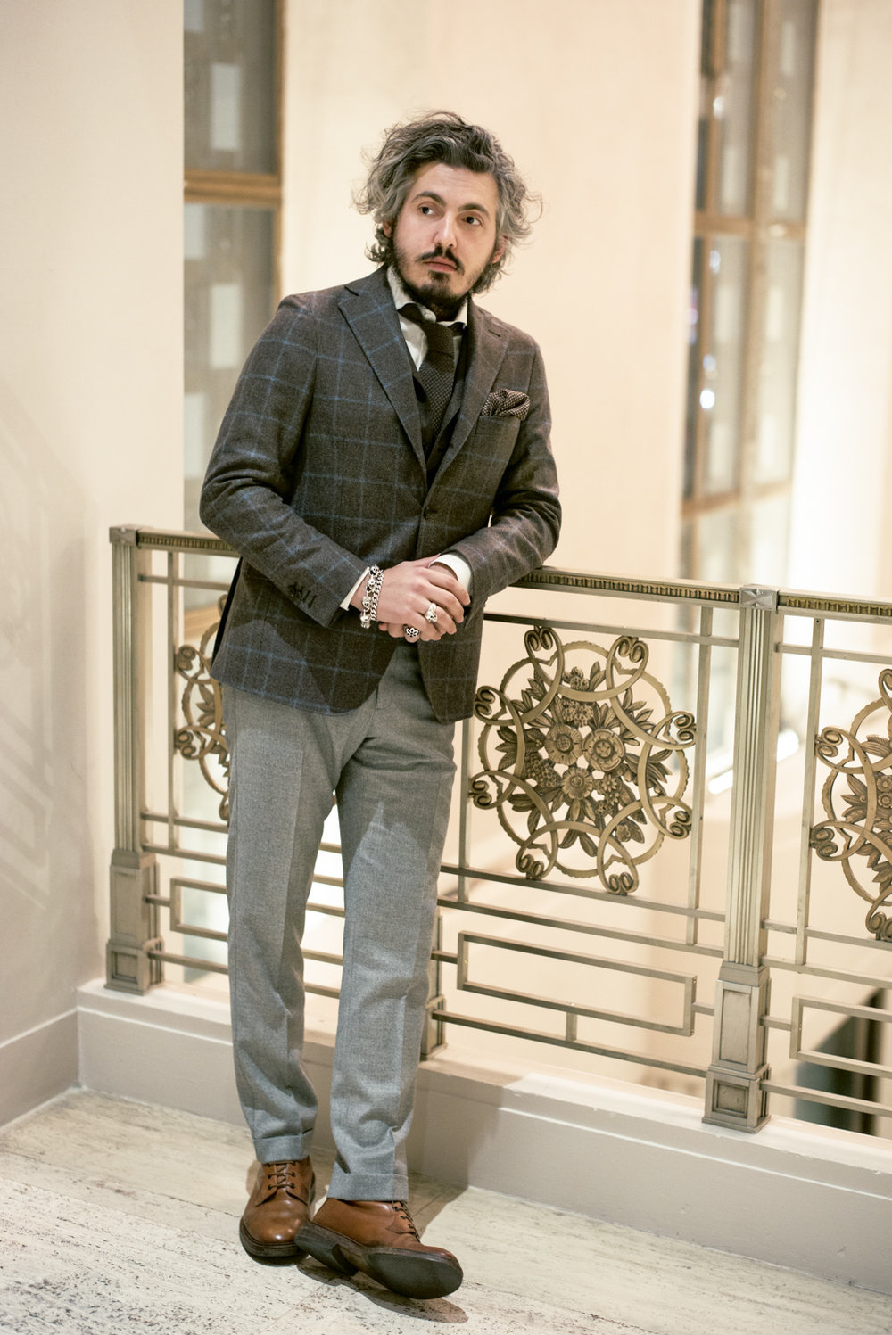 Wool windowpane jacket, wool-printed pocket square
