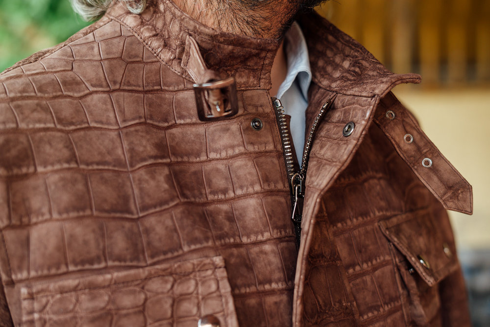 Brown suede alligator motorcycle jacket