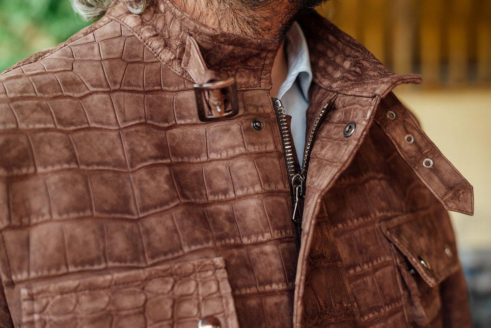Brown suede alligator motorcycle jacket