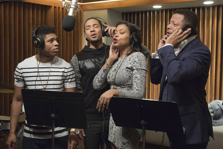 Bryshere Y. Gray, Jussie Smollett, Taraji P. Henson and Terrnce Howard appears on  Empire  on FOX network. Photo by FOX.