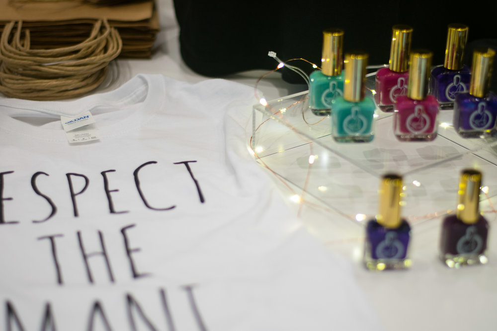 """Customers at The Naturalista Hair Show on Saturday, Sept. 16, 2017 had the opportunity to purchase fast-drying and vegan nail polish and """"Respect the Mani"""" t-shirts by EA Polish. The company offers buyers an array of colors to express themselves with."""