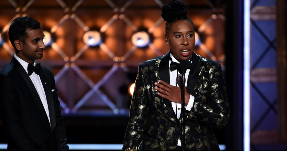 Lena Waithe accepts her Emmy for best writing in the comedy series, with co-writer Aziz Ansari, in winning she became the first African American female to win in the category.  Photo obtained from Rolling Stone website.