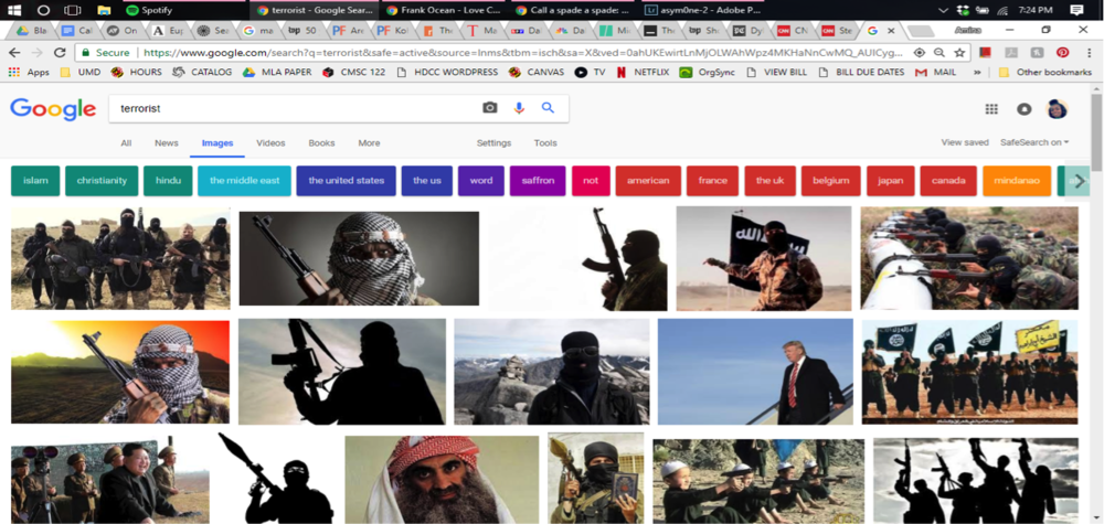 "Here are the image results from a Google search of the word ""terrorist."" Primarily images of Islamic extremism define what a ""terrorist"" is. (Screen capture by Amina Lampkin)."