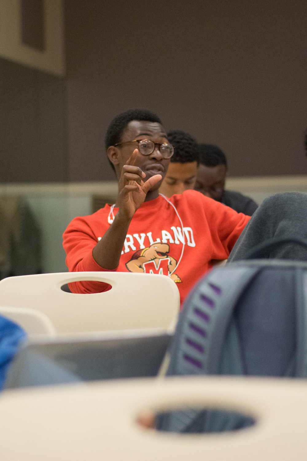 Malcolm Ferguson, freshman government and politics major, explains how tired black people are of being invalidated and told to stop whining. Photo: Amina Lamkin