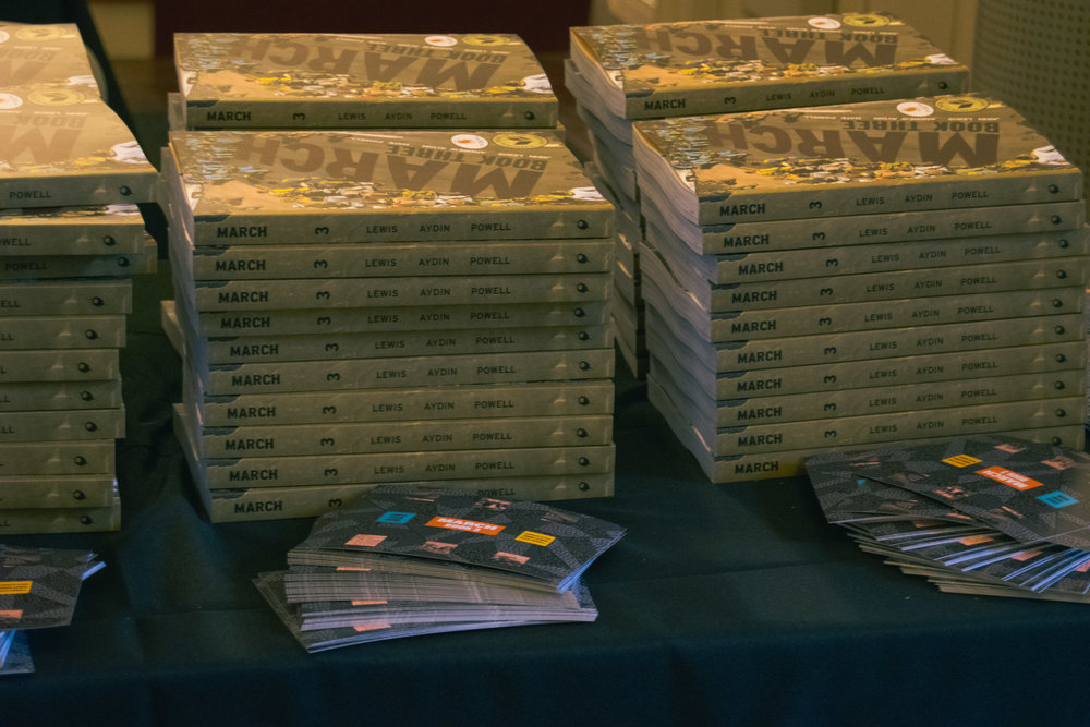 Upon entering the chapel, attendees received a free copy of Rep. Lewis' graphic novel.