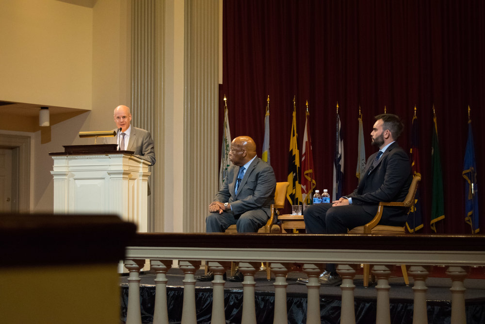 On Thursday, Oct. 12, 2017, the Office of Undergraduate Studies, in partnership with the William L. Thomas ODK Lecture Series and the Office of Diversity and Inclusion, brought Rep. John Lewis, D-G.A., and co-author Andew Aydin to the Memorial Chapel for a lecture titled  Good Trouble . Lewis and Aydin were introduced by William A. Cohen, associate provost and dean of undergraduate studies. Photo by Amina Lampkin