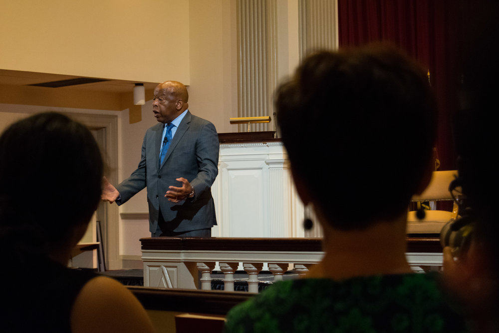 "Rep. John Lewis, D-G.A., opened his segment of the Oct. 12, 2017, lecture titled  Good Trouble  with an anecdote about his childhood. He asked his mother why blacks and whites had to be segregated to which she responded, ""That's the way it is. Don't get in trouble."" Photo by Amina Lampkin."