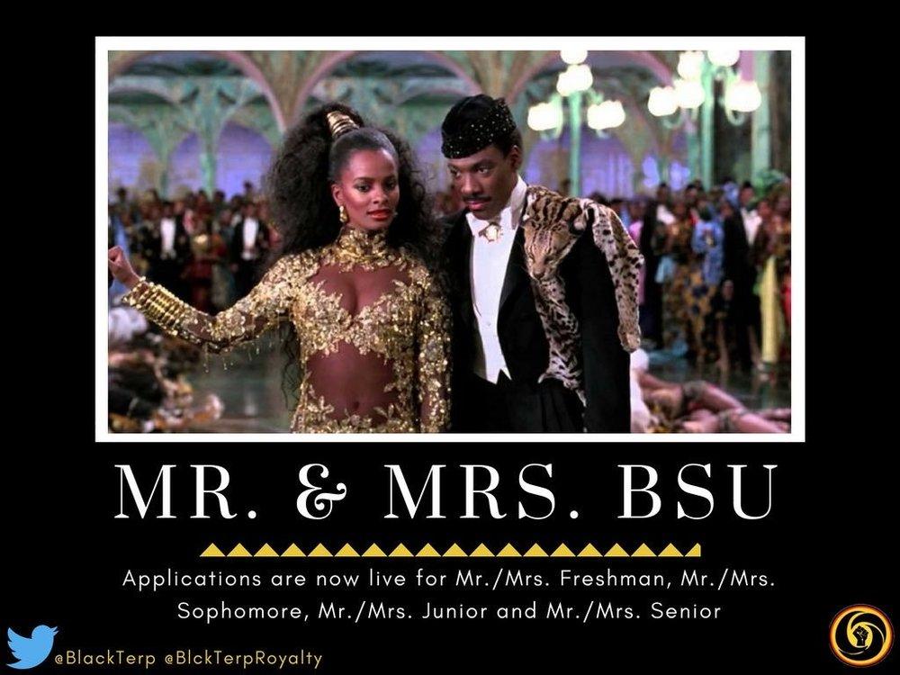 Mr. & Mrs. BSU application flier created by Nwando Arah.