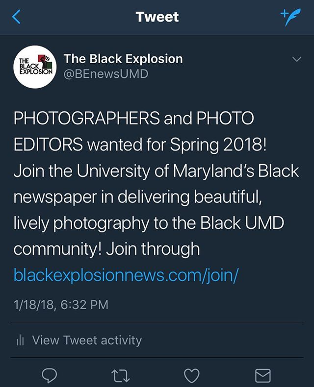 Join our team! Those with an interest in photography are encouraged to apply to UMD's Black newspaper! Gain valuable experience in photography this Spring; join through https://www.blackexplosionnews.com/join/ link also in bio!