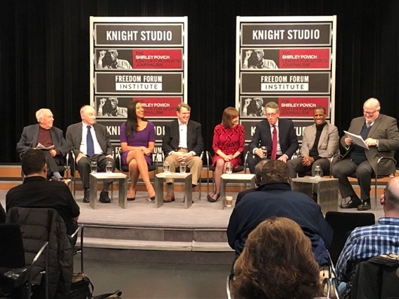 The distinguished panel gather Saturday afternoon at the Newseum's Knight TV Studio to discuss the tensions between sports writers and coaches or players. (Credit: Shirley Povich Center)  (left to right: George Solomon, Pepper Rodgers, Christy Winters Scott, Leonard Downie Jr., Liz Clarke, Greg Aiello, David Aldridge and Gene Policinski )