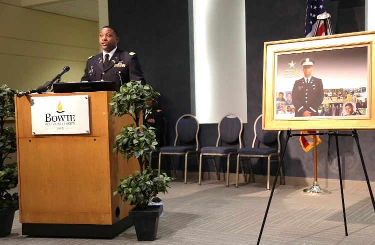 Bowie State officials and students gather last week to celebrate the launch of the 2nd Lt Richard Collins III Leadership with Honor Scholarship. (Credit: Bowie State/Twitter)