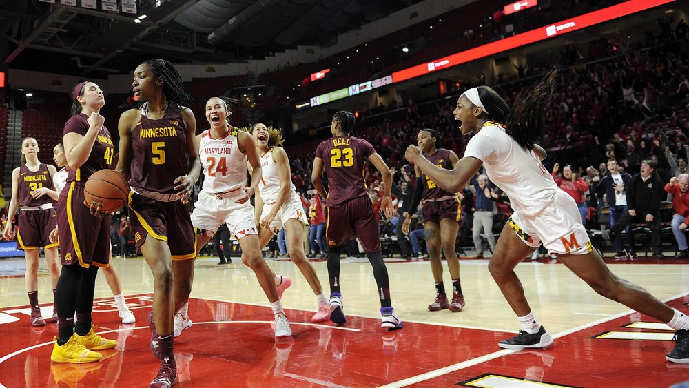 Junior guard Kaila Charles celebrates after her game-winning layup gives Maryland a 71-69 comeback win over Minnesota on Thursday, Feb. 21, 2019, at the Xfinity Center in College Park, Maryland. (Photo courtesy of Maryland Athletics)