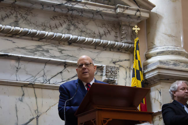 Maryland Gov. Larry Hogan speaks at the State of the State Address on Jan. 30, 2019, in Annapolis, Maryland (Photo credit: Daniel Oyefusi)