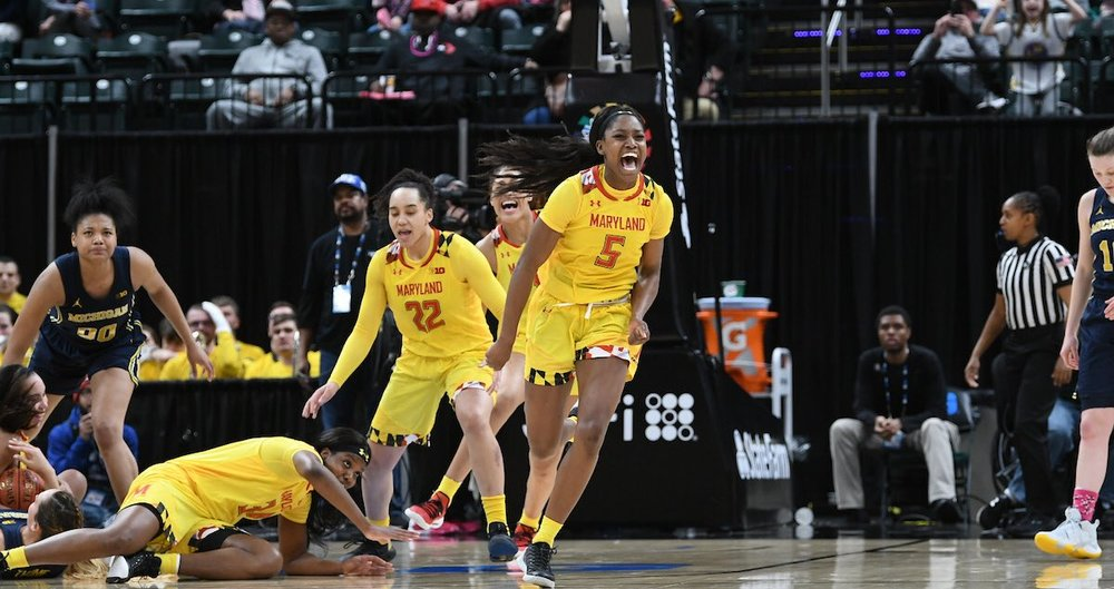 Junior guard Kaila Charles celebrates after a late defensive stand sends Maryland to the Big Ten championship game against iowa. (Photo courtesy of Maryland Athletics)
