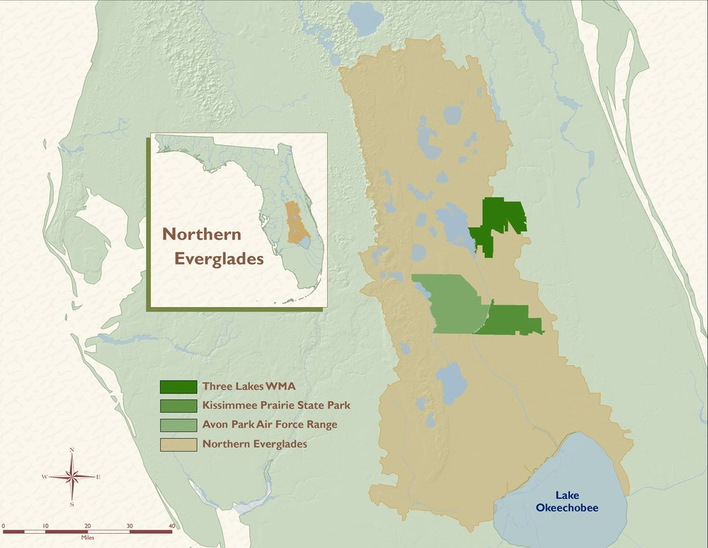 Map of the Northern Everglades made by Archbold Biological Station.