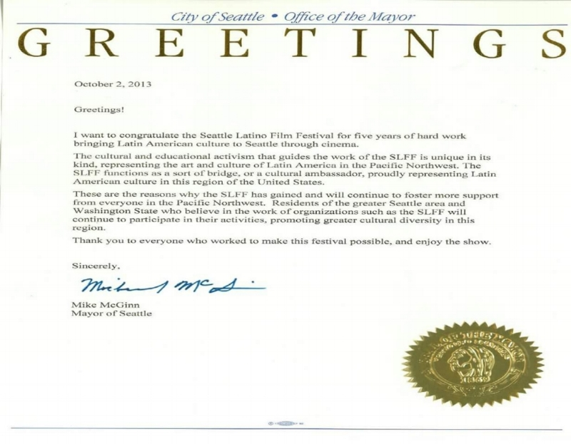 Greeting from Seattle Mayor