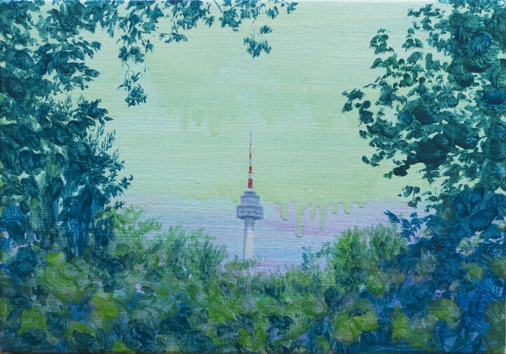 김현정_남산 타워 the Namsan Tower, oil on canvas, 17.9x25.8cm, 2018