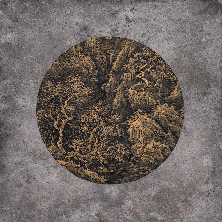 조종성_Landscape seen from a moving perspective. yellow 18-03, Ink on Korean paper, 30x30cm, 2018