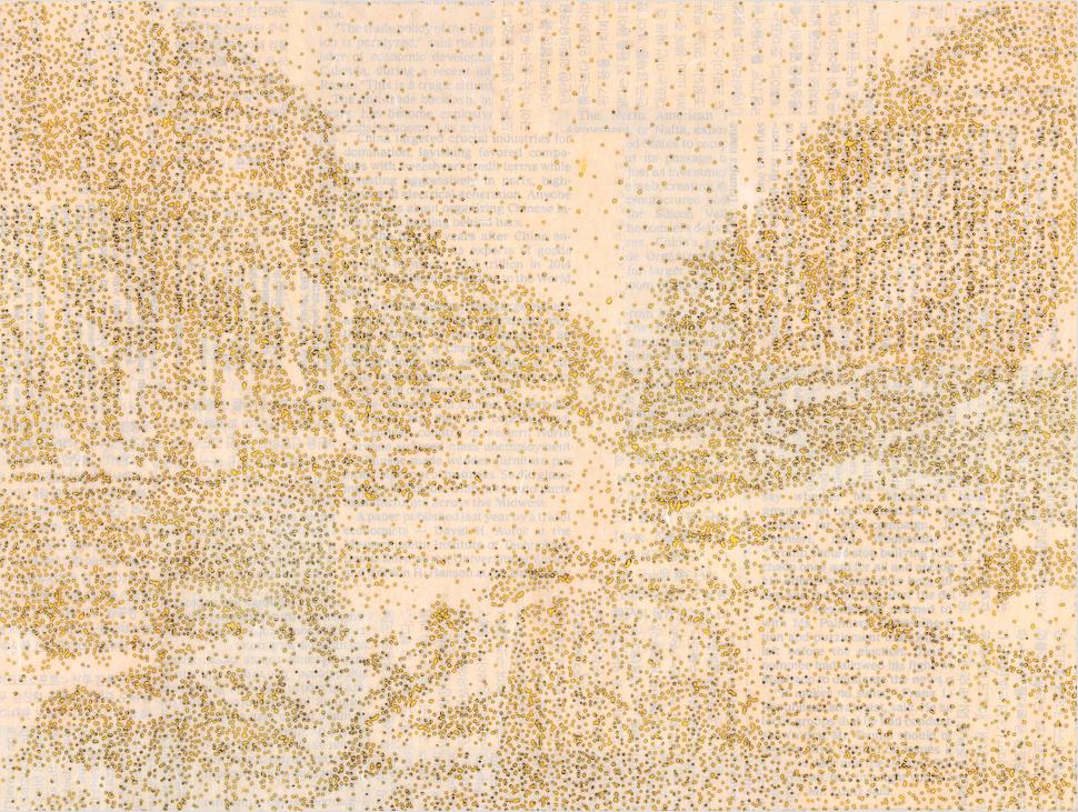 이길우_01402한탄강2. 순지에향불,장지에채색,꼴라쥬,배접,코팅.52X71cm.2018