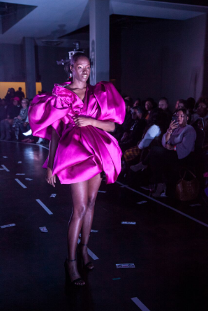 A model walks the runway wearing a look by Emerging Designer contestant Carlos Antoine at Splashiversary during Magic City Fashion Week. (Reginald Allen, For The Birmingham Times)