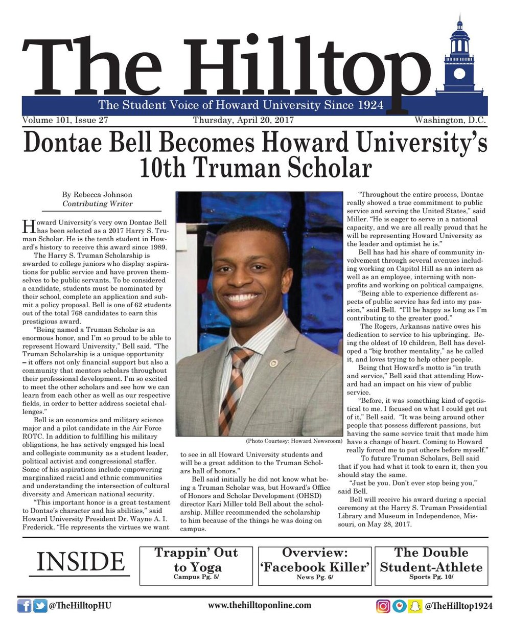 Dontae Bell Becomes Howard University's 10th Truman Scholar