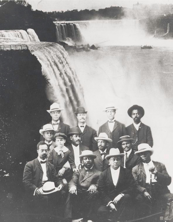 "Schomburg Center for Research in Black Culture, Photographs and Prints Division, The New York Public Library. ""Founding members of the Niagara Movement"" The New York Public Library Digital Collections. 1905.  http://digitalcollections.nypl.org/items/510d47dd-f226-a3d9-e040-e00a18064a99    The photo above is of the founding members of the Niagara Movement. The group was organized by W.E.B. DuBois and William Monroe to create legal and economic equality for African Americans. The first meeting took place near Niagara Falls in Ontario, Canada in 1905; hence why they called it the Niagara Movement."
