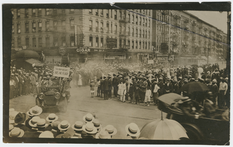 "Schomburg Center for Research in Black Culture, Photographs and Prints Division, The New York Public Library. ""UNIA Parade, organized in Harlem, 1920"" The New York Public Library Digital Collections. 1920.  http://digitalcollections.nypl.org/items/510d47df-7943-a3d9-e040-e00a18064a99    Above is the Universal Negro Improvement Association parade in Harlem. The UNIA was organized by Marcus Garvey dedicated to racial pride, economic self-sufficiency, and the formation of an independent black nation in Africa. The particular parade in the photo took place in 1920."