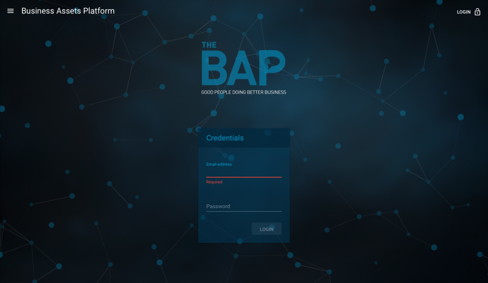 BAP Welcome page
