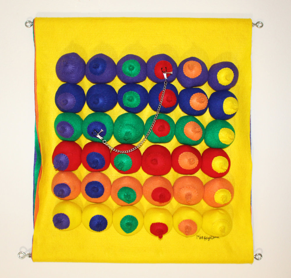 """Rainbow Party (Female), 2017 Felt, poly-fil, toy squeaker, nipple clamp, two spreader bars and cotton thread. 30"""" x 30"""" x 6"""" $6500"""