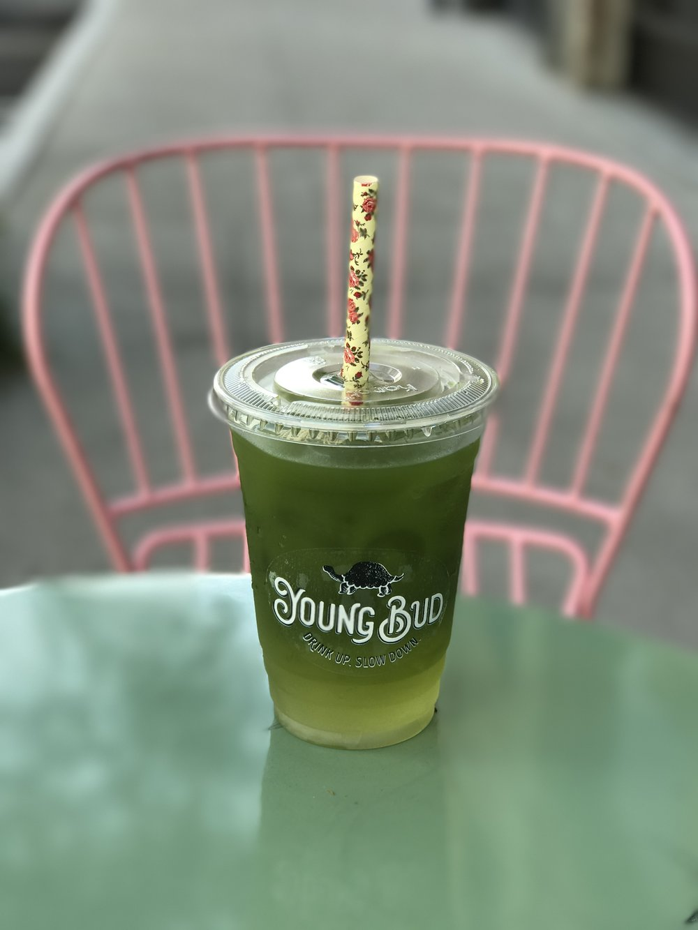 Iced matcha from Young Bud