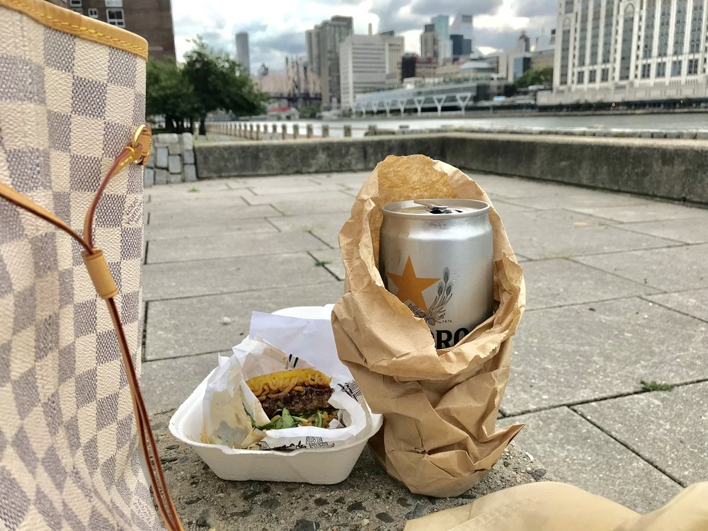 Before I went in to pick up my order I stopped at the corner store next door for a beverage — a brown bagged Sapporo (yes, there are patrols that drive by every now and then, but if you're discreet and not being a jackass you should be fine).