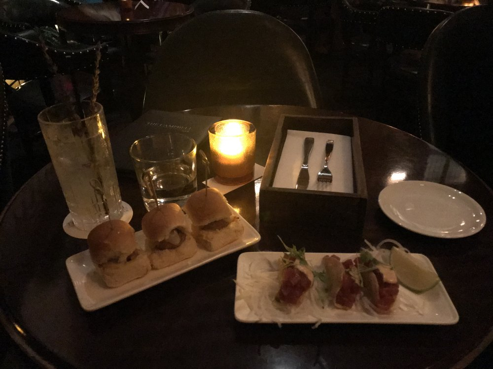 Lavender Collins, Meatball Parmesan Sliders, and Crispy Tuna Tartare Tacos