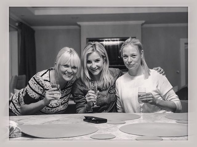 Bubbles. Besties. Baby chat. Seen a lot of life with these ladies - . #friendssinceforever #easter #itsraretheyhitsocialmedia #champagnekim
