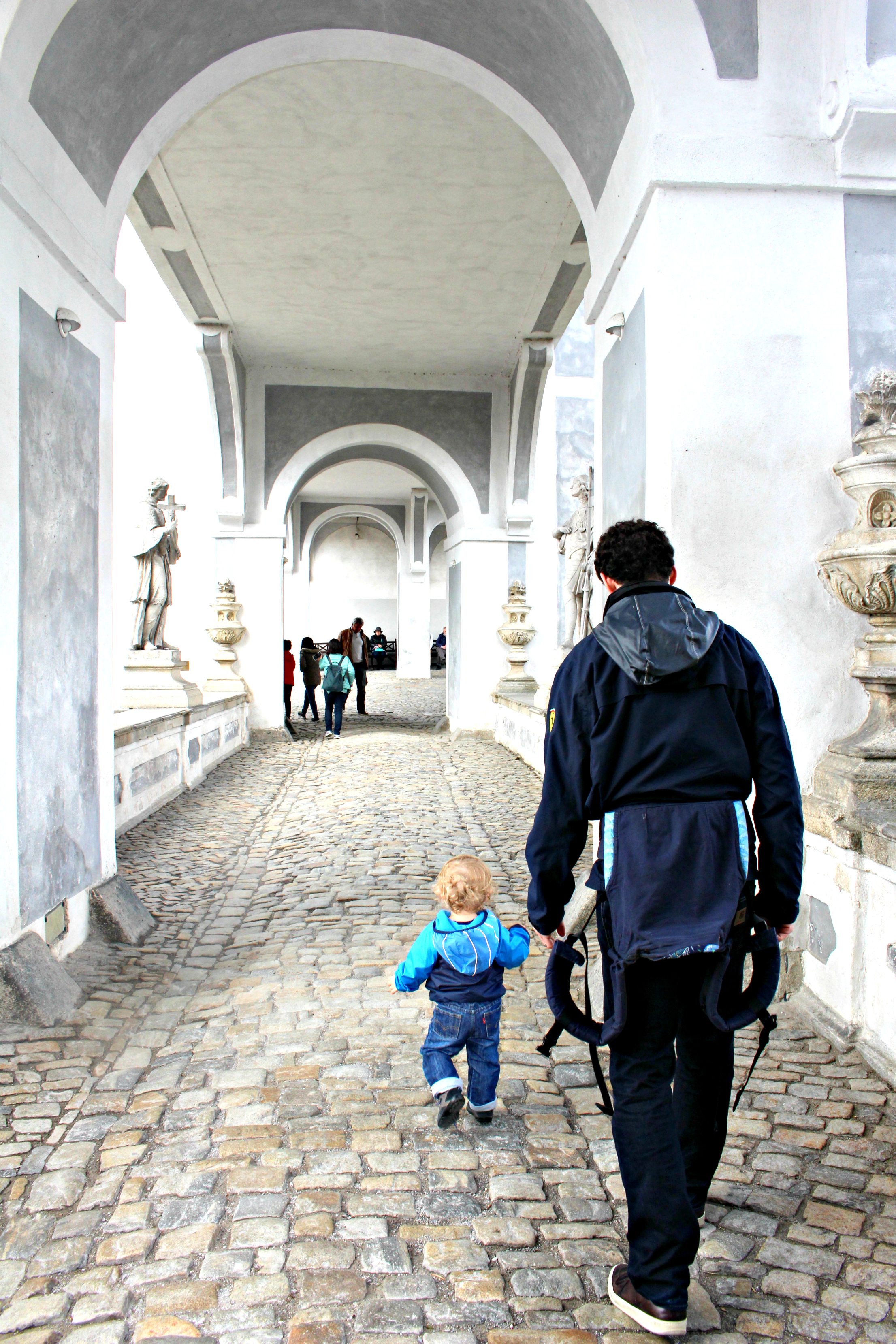 No pictures allowed in the Baroque Theater, but here's L running towards it.