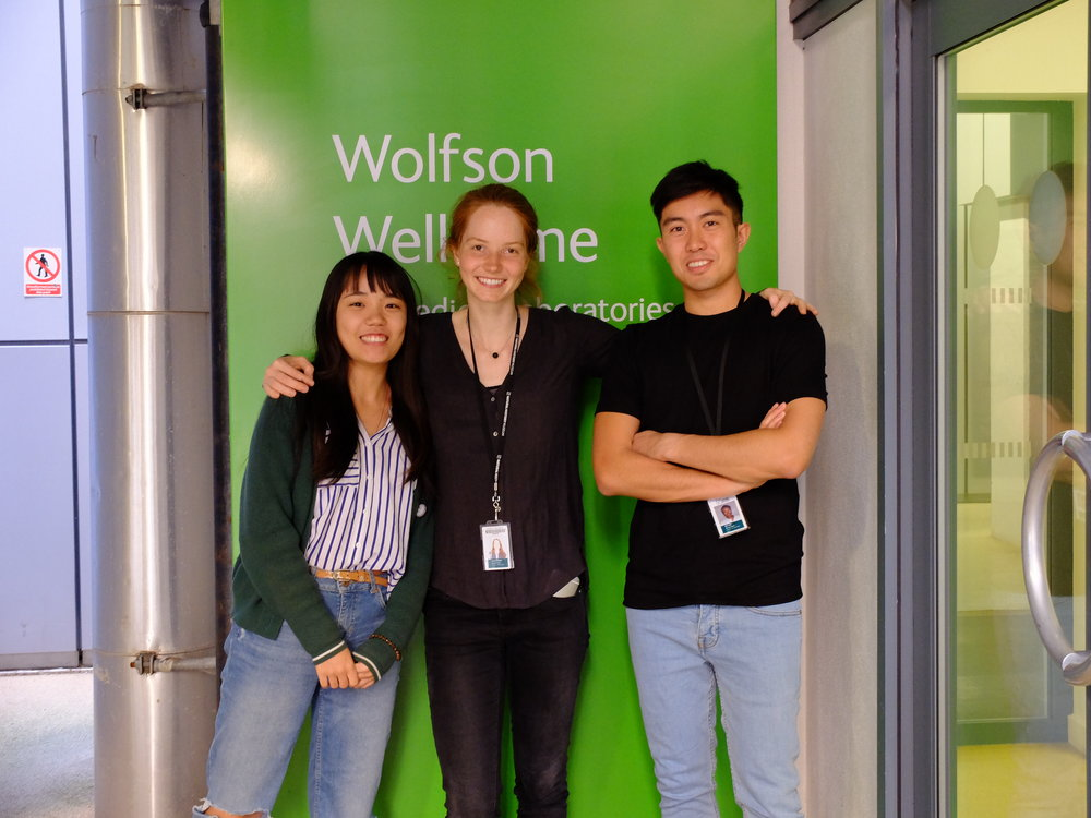 Xiuming, Laura and Eric outside the Wolfson Wellcome lab