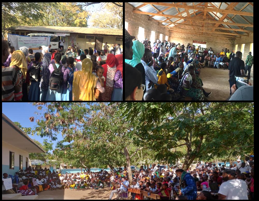 Clockwise from top left is crowd watching drama performance in Kemise, Ethiopia; Mwakalima, Tanzania; and Kigongo, Tanzania