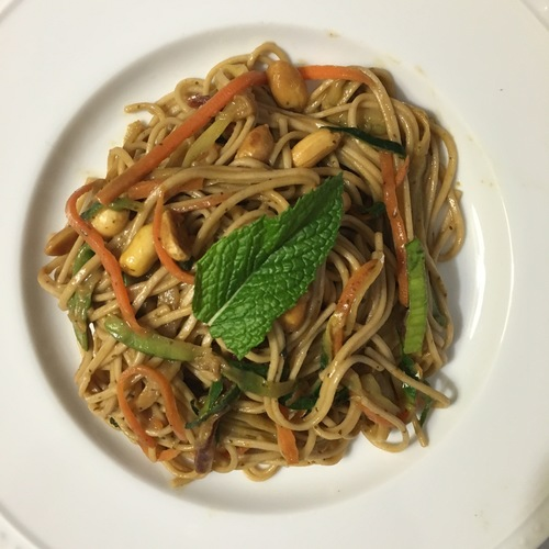 spicy peanut buckwheat noodles
