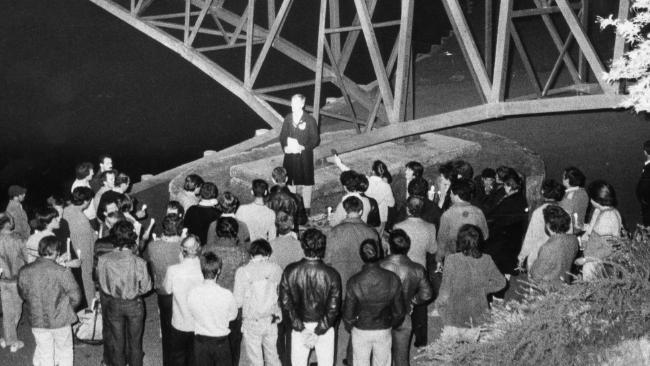 A photo taken of the scene down near the Torrens River, on the evening George Duncan was killed